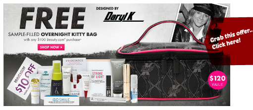 FREE sample-filled overnight Kitty Bag by Daryl K with any $100 Beauty.com Purchase